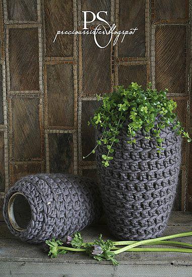 Crocheted vases for the garden