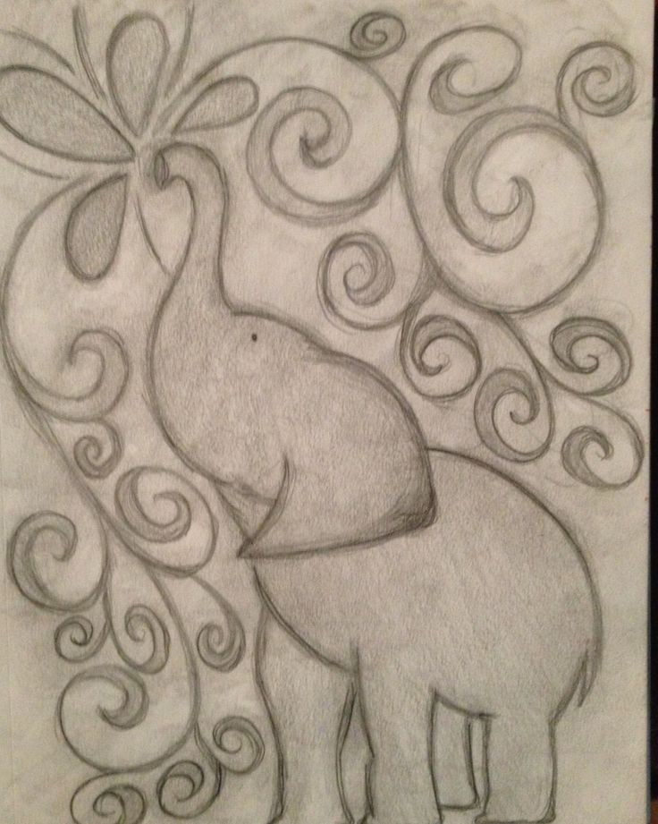 Inspired elephant pencil drawing my junk garden art for Drawing design ideas