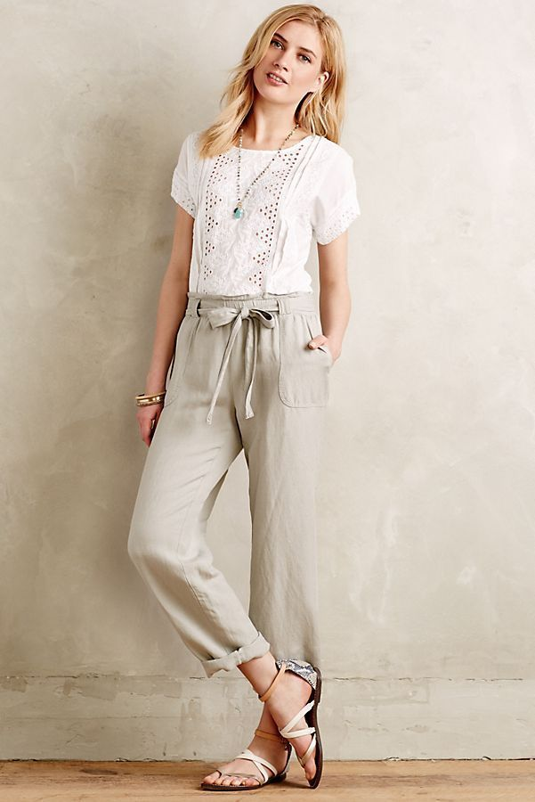 070d450f70 CARTONNIER Size Small Paper Bag Pants Linen Blend Stone Anthropologie Tie  Waist #fashion #beauty #sale