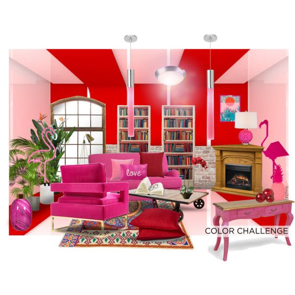 Red and Pink Interior by ilona2010 on Polyvore featuring interior, interiors, interior design, maison, home decor, interior decorating, PBteen, Sunnylife, LBL Lighting and Lazy Susan