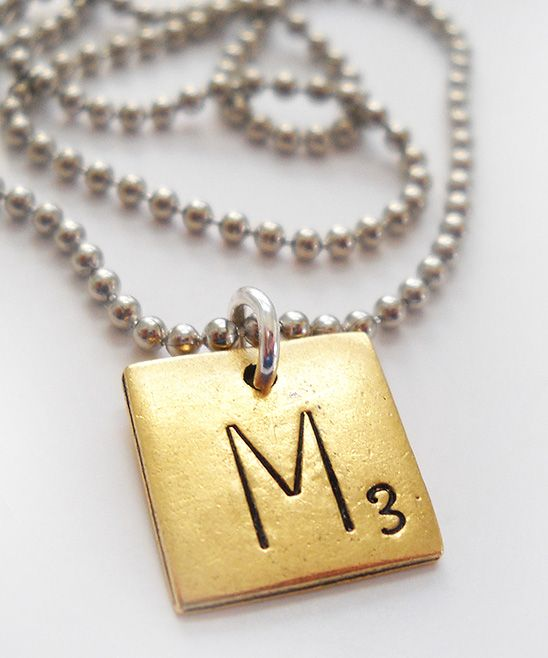 211 best scrabble mania images on pinterest scrabble board antiqued gold silver m scrabble tile pendant necklace mozeypictures Gallery