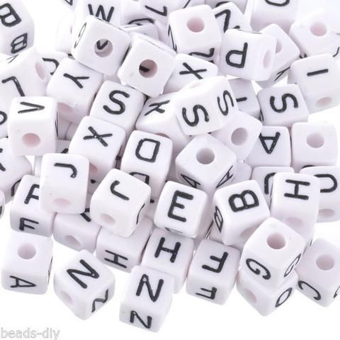 400 Mixed Cubic Acrylic Letter/ Alphabet Beads 10x10mm