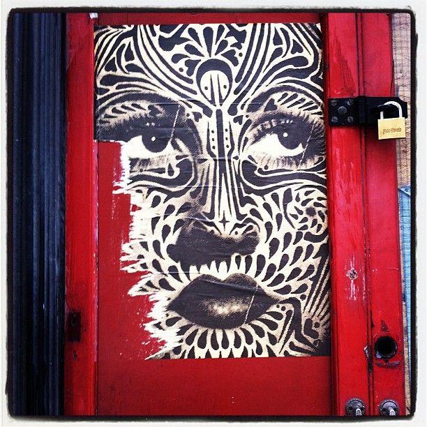 Red door street art, East London.