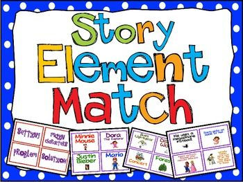 Story Elements Match Up FREE for Main Idea, Story Elements, and Summary Writing - Teaching With a Mountain View - TeachersPayTeachers.com