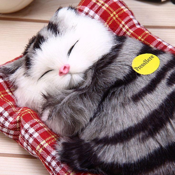 Mooie Simulatie Dier Pop Pluche Slapen Katten Speelgoed met Geluid Kinderen Speelgoed Verjaardagscadeau Pop Decoraties knuffels kidstime