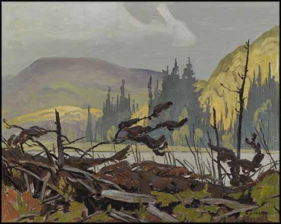 Beaver Meadow Near Foymount by Alfred Joseph (A.J.) Casson CGP CSPWC G7 POSA PRCA 1898 - 1992 Canadian oil on board  12 x 15 in  30.5 x 38.1 cm