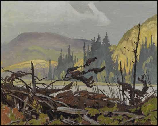 Beaver Meadow Near Foymount by Alfred Joseph (A.J.) Casson CGP CSPWC G7 POSA PRCA 1898 - 1992 Canadian oil on board 12 x 15 in 30.5 x 38.1 cm