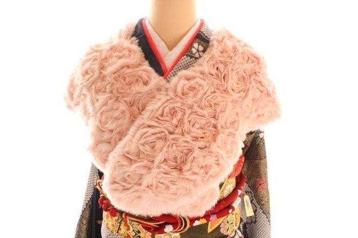レッキスファーシフォンショール薔薇のモチーフがかわいいショール成人式振袖