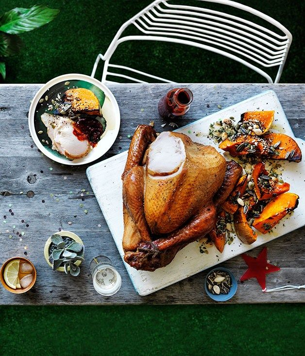 Cider-brined smoked turkey with cranberry barbecue sauce recipe ...