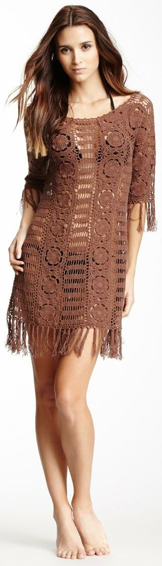 Brown Crochet coverup by LeTarte