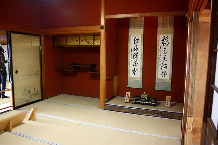 Tokonoma = alcove is a space in a Japanese-style room that is a step higher than the rest of the room and have a wooden floor. Kakejiku, flowers, calligraphy scrolls or paintings are displayed in the Tokonoma.