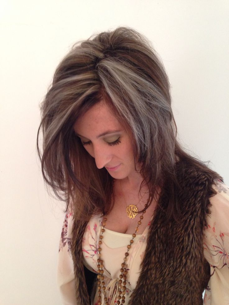 High Contrast Blonde And Dark Brown Chunky Highlights