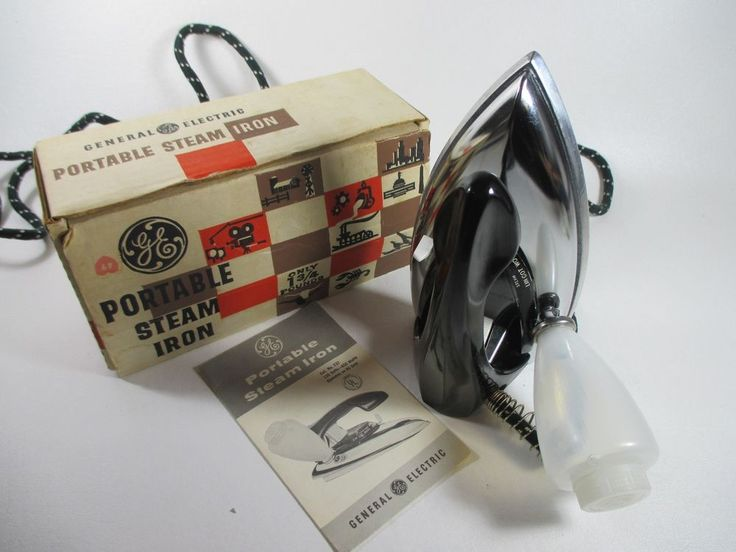 General Electric Portable Travel Steam Iron w/ Original Box & Manual #Vintage GE F37 #GeneralElectric #1950s