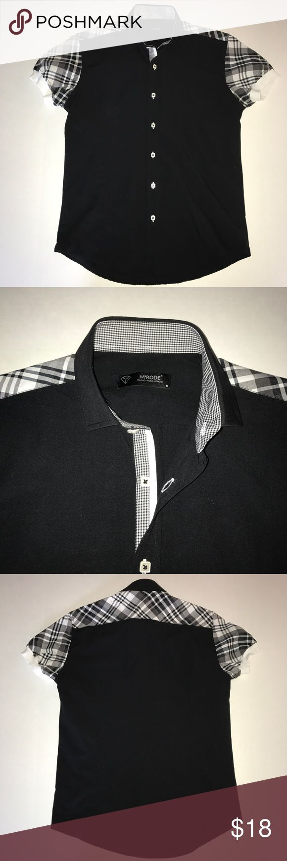 🍂men's M'RODE button up shirt slim fit Men's M'MODE button front black short sleeve shirt. Fun contrast plaid fabric on back yoke and on sleeves. Knit sleeve cuff detailing. Designer square front buttons. Contrast check fabric on placket and inside collar. Front and back darts. Take says medium, this fits like small. Very sexy and unique style. m'rode Shirts Casual Button Down Shirts