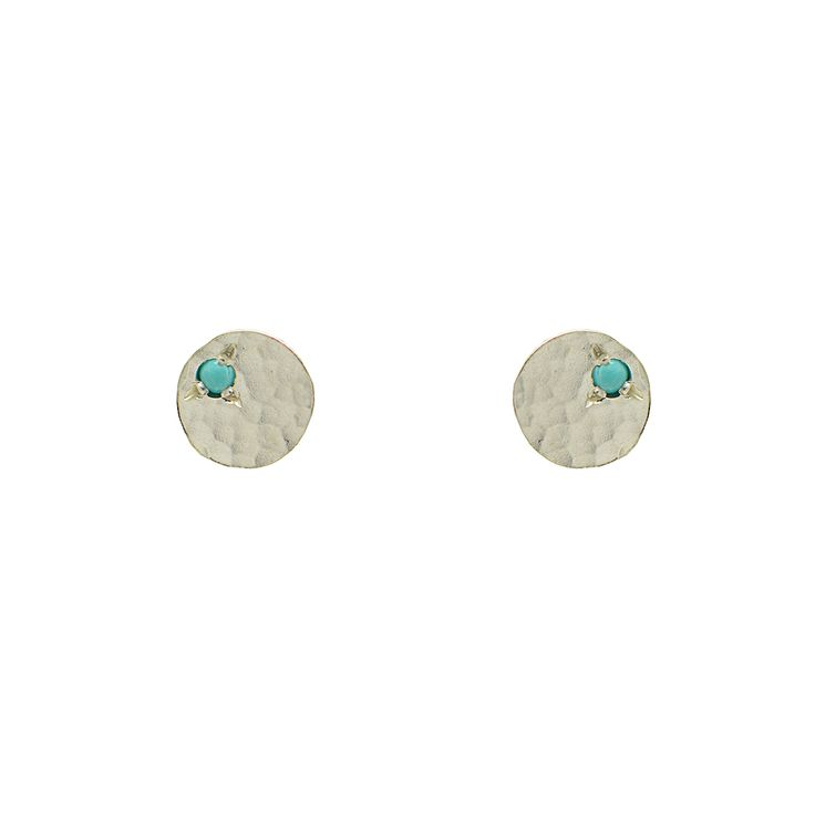 Hammered Sequin Earrings with Turquoise