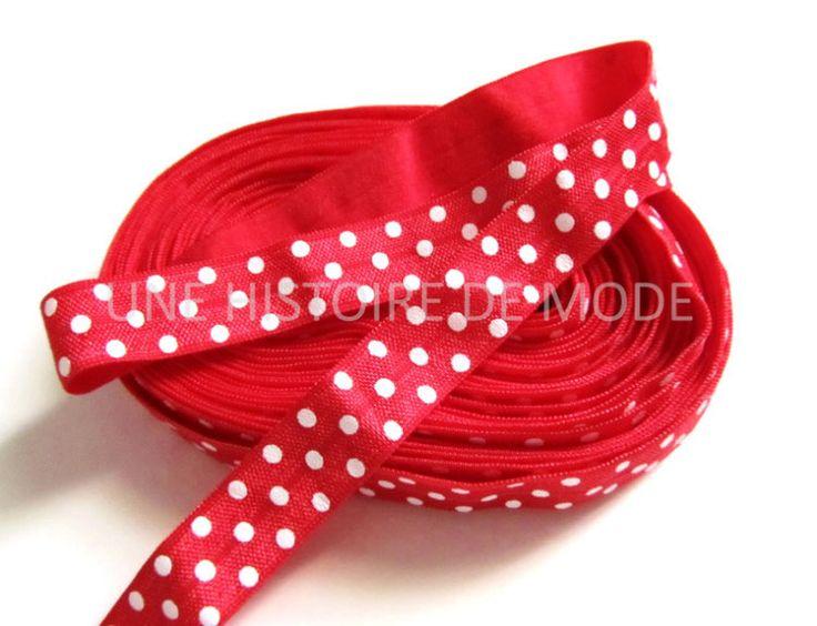 Ruban élastique rouge à pois blancs - 15 mm - ruban stretch - biais ( au mètre )