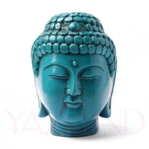 RARE Turquoise Blue Hand Made Tibetan Buddha Head Statues New Retro | eBay