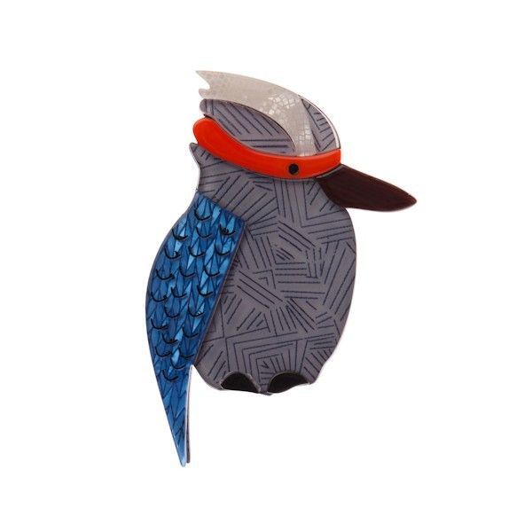 Kallista the Kookaburra (Grey / Blue Resin Brooch) - Little White Box Jewellery