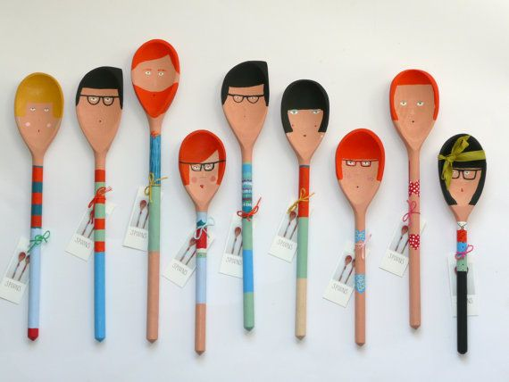 What a cute way to quirk up the kitchen!   Hand painted People Decorative Wooden by KatyPillingerDesigns, £12.00