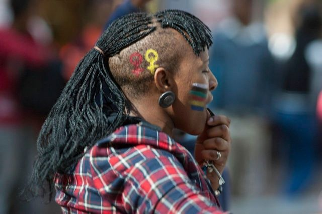 IDAHOT 2013, Johannesburg. Activists sometimes find ways to express their concerns about homophobia and transphobia through art. This expression paves the way for conversation and dialogue  about the what participants, saw, heard and felt about what they  experienced.