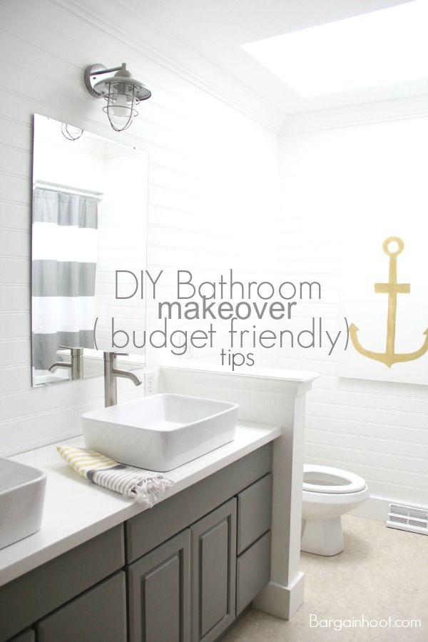 DIY gray bathroom makeover-  Budget friendly tips  www.bargainhoot.com Love the anchor