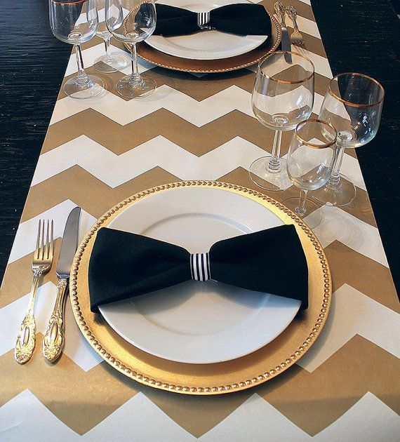 Gorgeous Gold And Cream Chevron Paper Table Runner Gift Wrap Place Mat 6  Feet   Graduation?