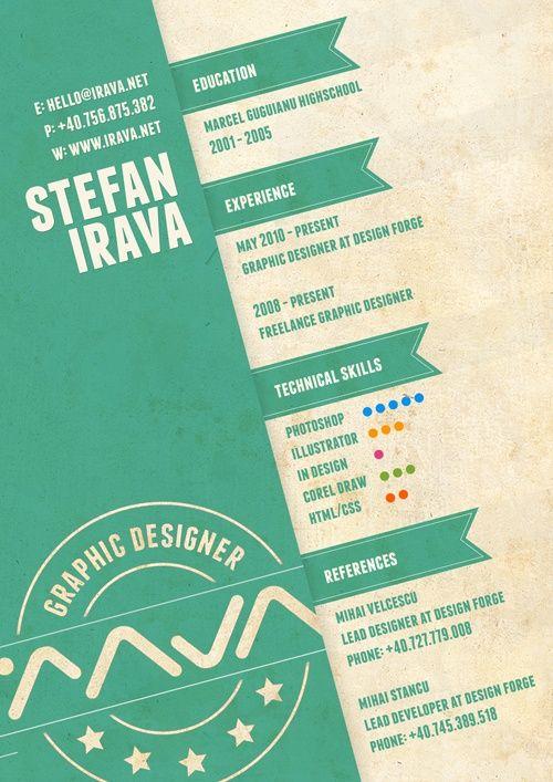 Un magnifique exemple de CV réalisé sous Illustrator. Malheureusement, celui-ci est un peu léger en contenu.