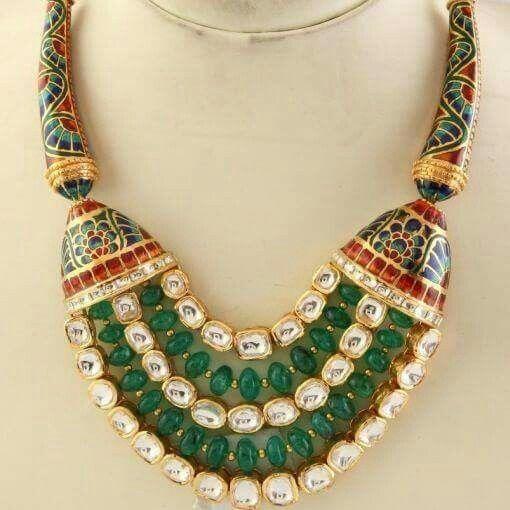 Meena work with green stone n kundan unique design