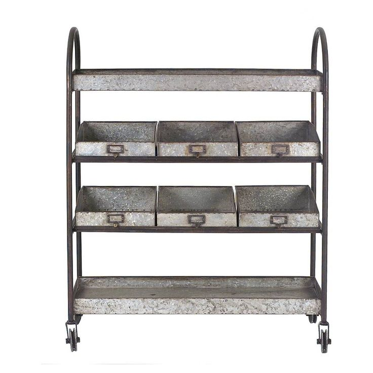 Metal 4-Tier Cart with 6 Bins On Casters. Image 1 of 2.