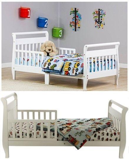 White Toddler Bed Solid Wood Sleigh Kids Boys Girls Nursery Bedroom Furniture #WhiteToddlerBed