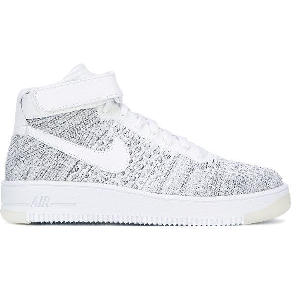 Nike Air Force 1 Flyknit sneakers ($155) ❤ liked on Polyvore featuring shoes, sneakers, white, nike sneakers, velcro sneakers, white leather shoes, lace up flat shoes and nike trainers