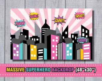 GIRL SUPERHERO WELCOME Sign Superhero Birthday. by RedAppleStudio