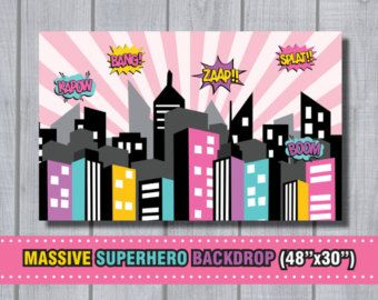 MASSIVE Girl Superhero Backdrop - City Skyline Background City Scape - Superhero Birthday Party Supplies Party Printables Instant Download!