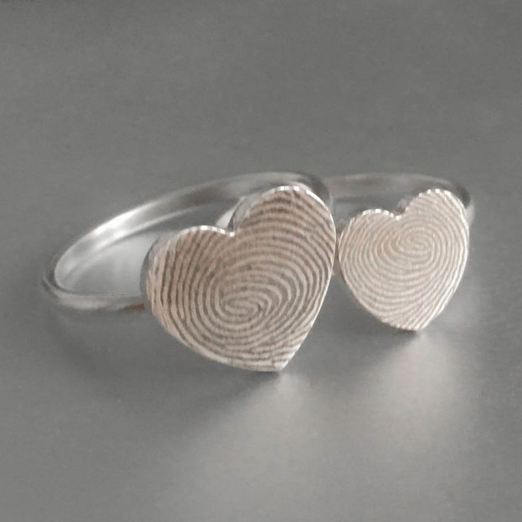 Fingerprint Ring, Fingerprint Jewelry, Stacking Ring, Heart Ring, Engraved Ring, Personalized Jewelry, Bridesmaid Gift, Mother Daughter Ring by JubileJewel on Etsy