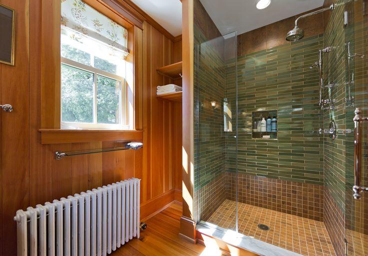 Carpentry by Maguire Construction, Inc. www.maguireconstruction.com Vertical Douglas Fir wall boards Douglas fir flooring Frameless shower door Glass shower tiles