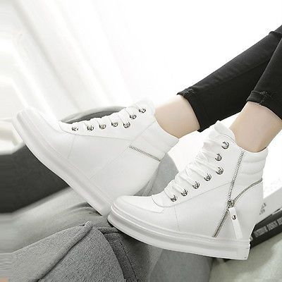 Womens High Top Trainers Boots Zip Lace Up Hidden Wedge Heels Sneakers Leather