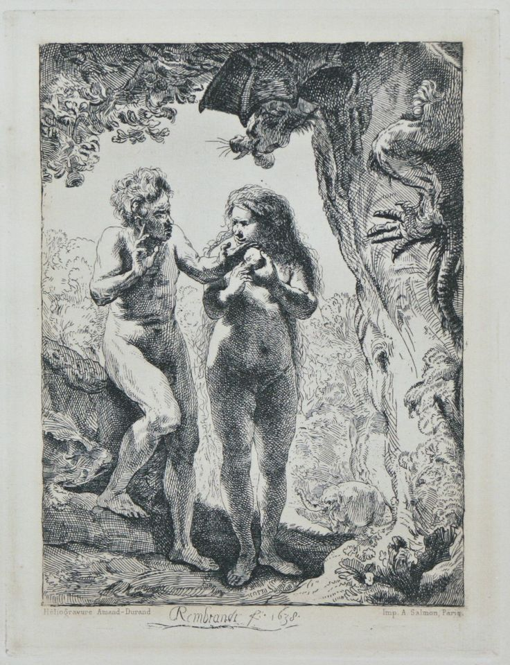 """nice """"Adam and Eve"""" By Rembrandt Restrike Etching by Amand Durand 6""""x4 half"""" Check more at https://aeoffers.com/product/arts-and-crafts-collectibles-handmade-online/adam-and-eve-by-rembrandt-restrike-etching-by-amand-durand-6x4-half/"""