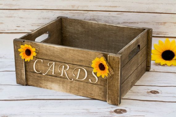 (Something like this flipped over as the base for Beth's card birdcage?!!!) Sunflower Card Box Rustic Wedding Card Beach by HappyWeddingArt