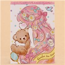 kawaii white purple turquoise teddy bear girl block Note Pad by Q-Lia