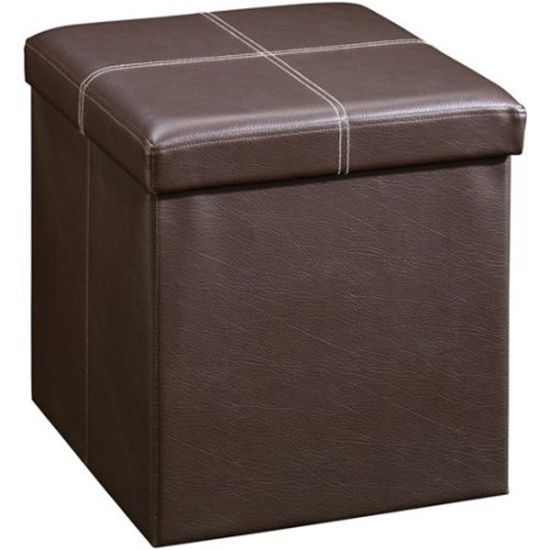 brown small storage ottoman holds books magazines blankets toys kids seat new - Storage Ottoman Cube