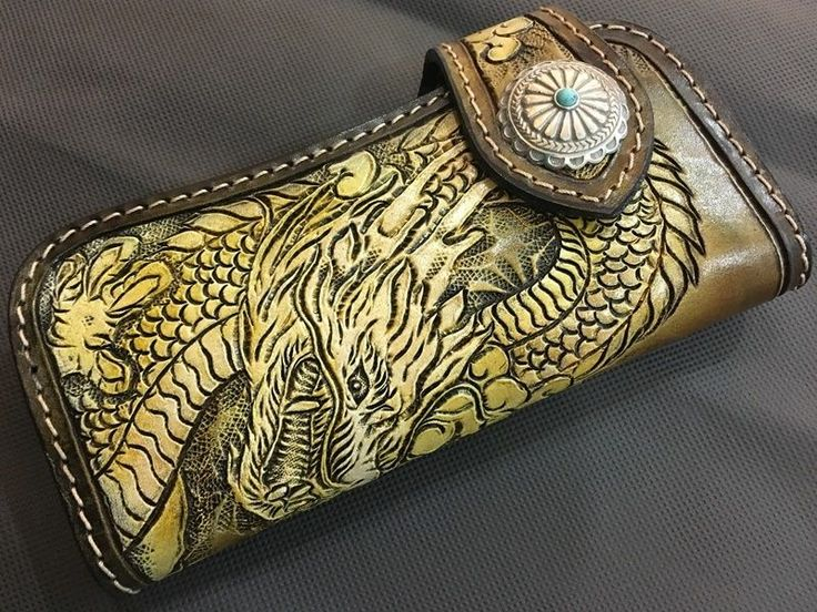 Mens Dragon Wallet Purse Billfold Biker Accessories Vintage Long Leather Carved  #Unbranded #Bifold