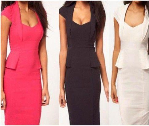 Women's Elegant Pencil Dress Available in Four Colours