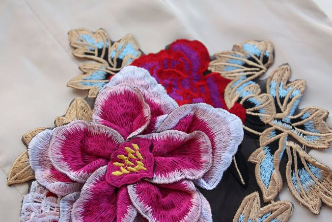 Autumn Winter Clothes 3D Applique Embroidery Peony Decoration Fabric Patch Stickers African Lace Guipure For Sew Patchwork Diy-inPatches from Home & Garden on Aliexpress.com | Alibaba Group