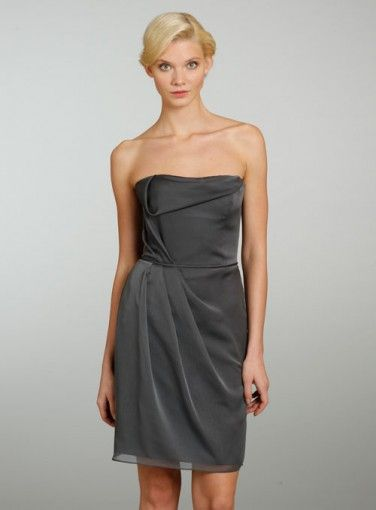 Sheath Column Strapless Knee Length Gray Bridesmaid Dress Bbjh0263