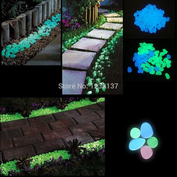 L109100pcs Fish Tank Garden Parterre Decor Glow in the Dark Fluorescent Pebble Stone