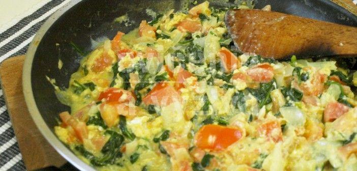 Miešané vajíčka so špenátom