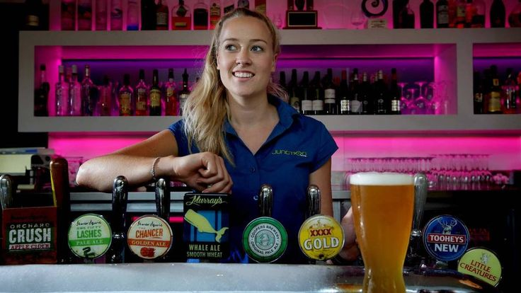 HERE'S CHEERS: Josie Stone pours another at The Junction Hotel on Friday.  Picture: Peter Stoop