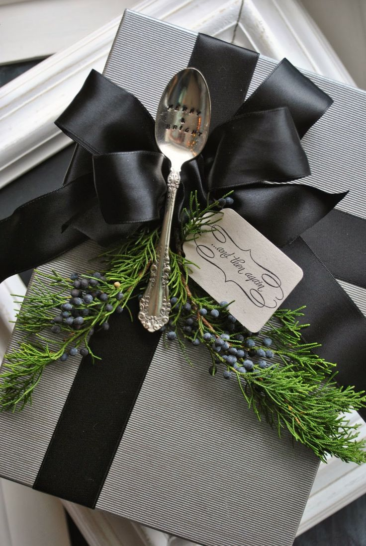 """Add vintage flatware as an embellishment for a gift with a bit of evergreen. pinned via Rachael Powell - """"MyssP"""""""