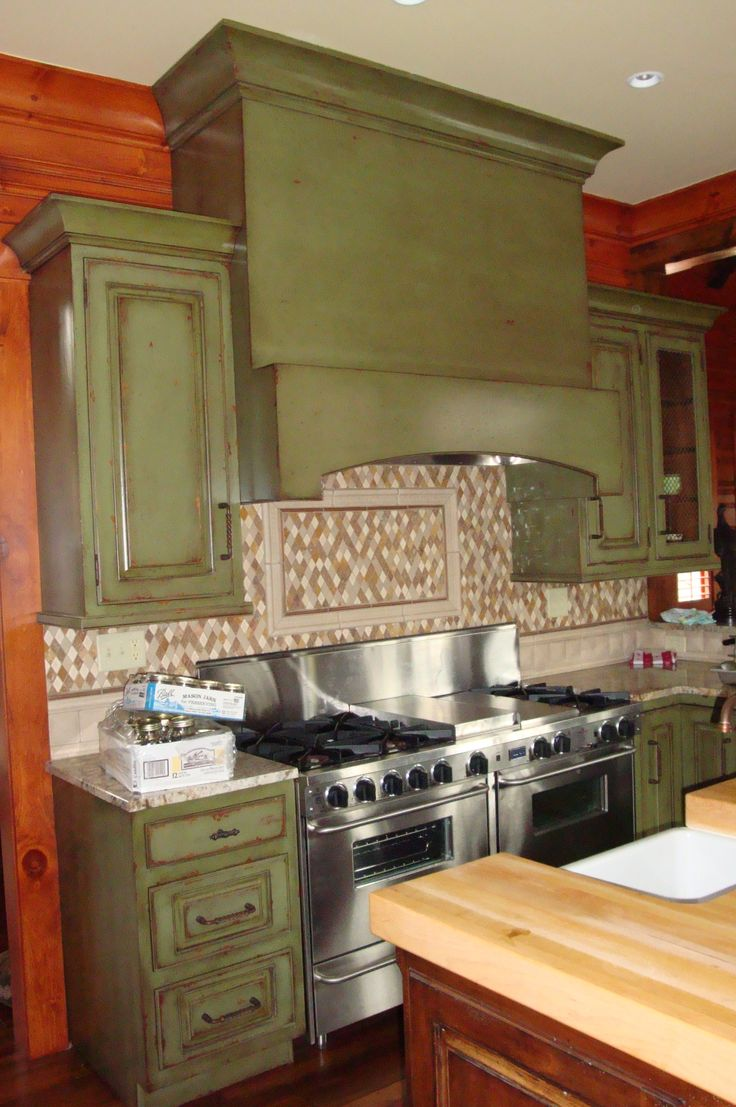 Antique green kitchen cabinets - Green Distressed Kitchen Cabinets Professional Team Of Artists Designers