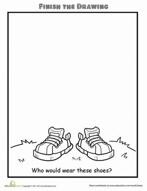 Finish the Drawing: Who Would Wear These Shoes? Worksheet. Use it as a writing prompt. day 1: draw day 2: write a description. who what when where and why and 3 describing words day 3: write a story about the drawing, making sure to include the description from day 2